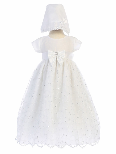Embroidered Organza Christening Gown w/ Sequins