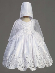 Embroidered Satin Dress w/Cutwork, Silver Sequins & Cape Christening Gown