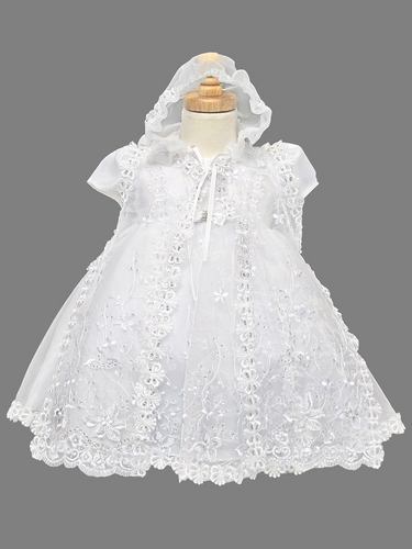 Embroidered Sparkle 3 Piece Organza Christening Dress