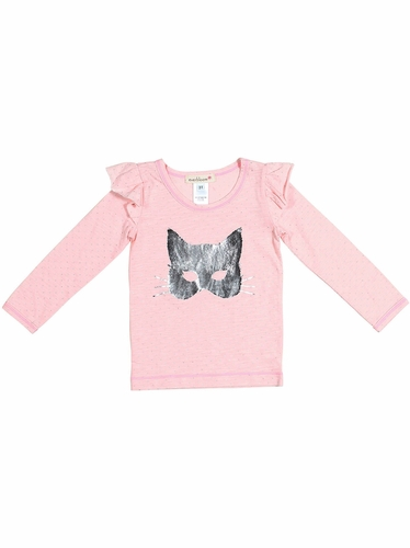 Everbloom Pink & Silver Cat Mask Tee