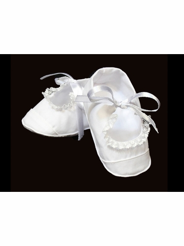 Feltman Brothers White Booties w/ Lace Trimming & Satin Bow