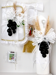 Boys First Communion 4 Piece Candle Gift Set - Black Grapes