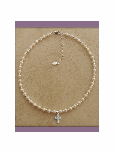 First Communion Beaded Necklace w/ Cross