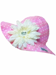 Flap Happy Pink Floppy Hat w/ Removable Flower