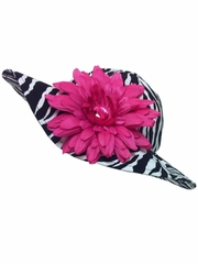 Flap Happy Zebra Floppy Hat w/ Removable Flower