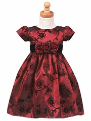 Flocked Burgundy Taffeta Dress with Velvet Waistband