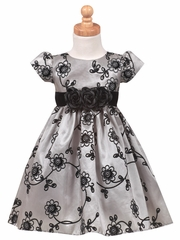 Flocked Silver Taffeta Dress with Velvet Waistband