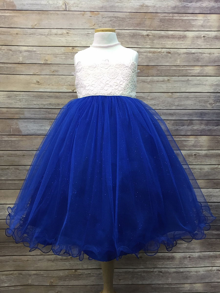flower crochet bodice w royal blue tulle glitter skirt
