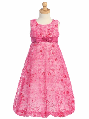 Fuchsia Embroidered Tulle A-line Dress