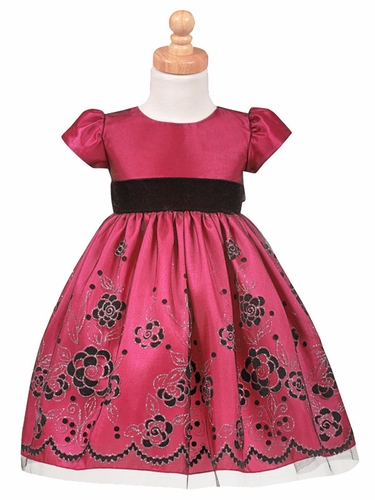 Fuchsia Flocked Tulle Dress w/ Velvet Waistband