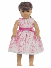 """Fuchsia Floral Embossed Lace 18"""" Doll Dress"""