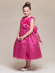 Fuchsia Floral Ribbon Bodice & Tulle Skirt Dress w/Flower & Sash