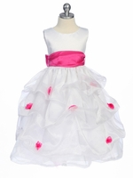 Fuchsia Flower Girl Dress - Matte Satin Bodice Gathered Organza