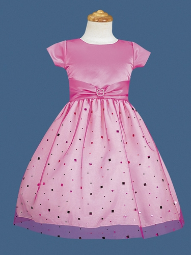 Fuchsia Flower Girl Dress - Matte Satin Sparkling Tulle