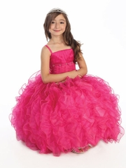 Fuchsia Lace Up Shimmery Bodice with Ruffled Organza Skirt