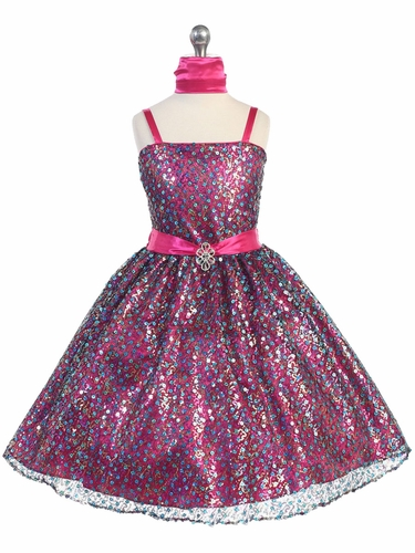Fuchsia Multiple Sequined Dress