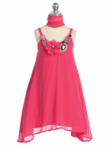 Fuchsia Neck Stone Trim Chiffon Sun Dress