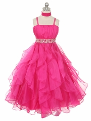 Fuchsia Organza Special Occasion Dress