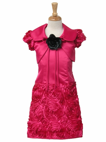 Fuchsia Ribbon Embroidered Taffeta w/ Satin Jacket Dress