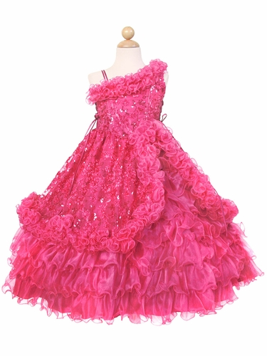 Fuchsia Ruffled One Off Shoulder Bodice w/ Sequins Embroidery