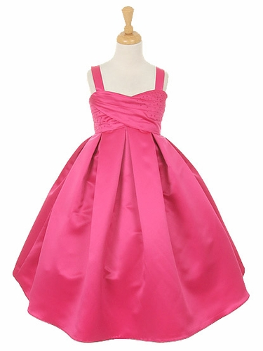Fuchsia Satin Dress w/ Rhinestone Accents