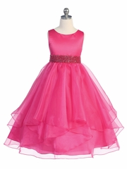 Fuchsia Satin & Organza Layered Dress