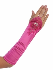 Fuchsia Satin Ruched Fingerless Gloves