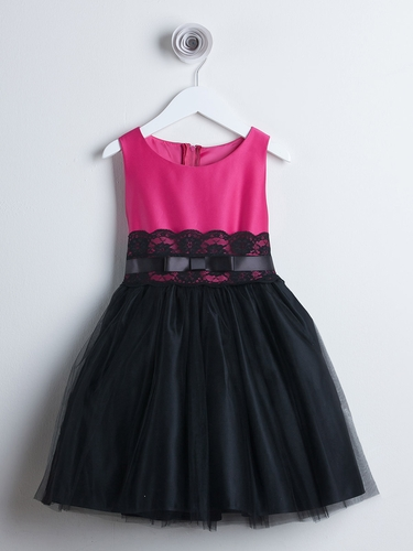 Fuchsia Satin & Tulle Dress w/ Lace Trim