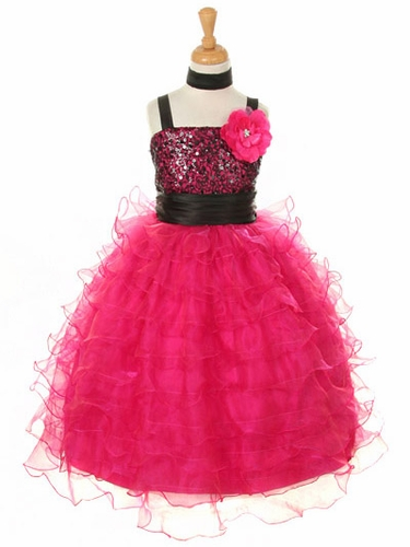Fuchsia Sequin Bodice Ruffle Dress w/ Matching Shawl
