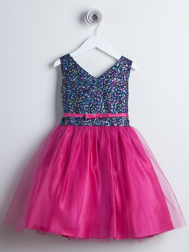 Fuchsia Sequin Tulle Party Dress