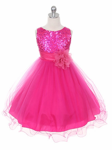 Fuchsia Sequined Bodice with Double Layered Mesh Dress