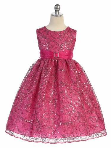 Fuchsia Sequins Cord Netting Dress w/ Organza Sash