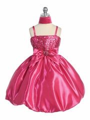 Fuchsia Sequins Dress on Satin w/ Shawl
