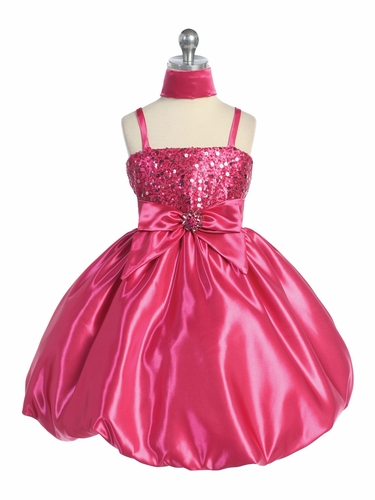 Fuchsia Sequins Dress on Satin w/Shawl