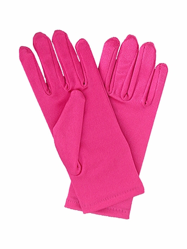 Fuchsia Short Satin Gloves