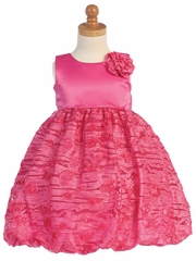 Fuchsia Taffeta Bodice w/ Embroidered Tulle Dress