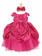 Fuchsia Taffeta Embroidered Cinderella Baby Dress