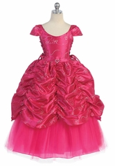 Fuchsia Taffeta Embroidered Cinderella Dress