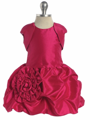 Fuchsia Taffeta Short Dress with Pick-Ups & Matching Bolero