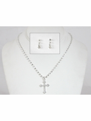 "Girls 1"" Cross Necklace & Earrings Set"