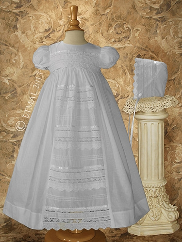 "Girls 26"" Cotton Christening Gown w/ Venise Lace"