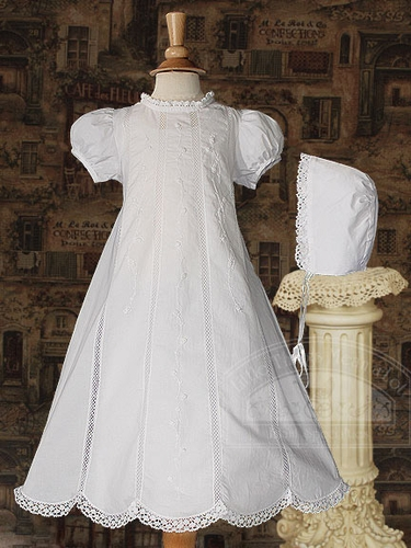 "Girls 26"" Heirloom Christening Gown w/ Embroidered Lace"