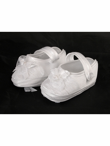 Girls Baptism Christening Satin Booties w/ Bow