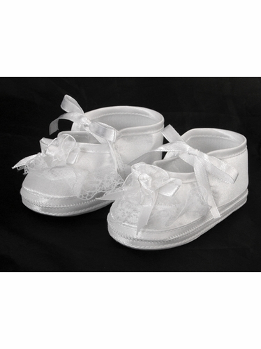 Girls Baptism Christening Satin Booties w/ Flower Bow