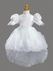 Girls Christening 2 Piece Crystal Organza & Tulle w/ Detachable Train