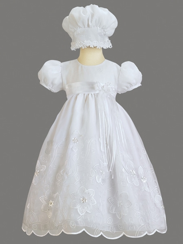 Girls Christening 2 Piece Flower Embroidered Organza Dress