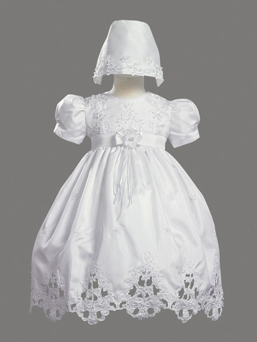 Girls Christening 2 Piece Poly Shantung Dress