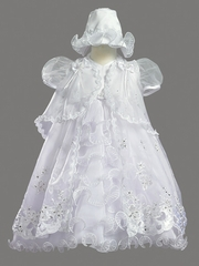 Girls Christening 3 Piece Organza Dress w/ Cape