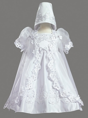Girls Christening 3 Piece Satin Dress