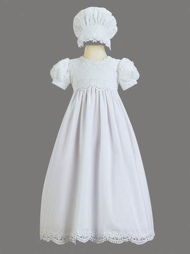 Girls Christening Cotton Embroidered Christening Gown